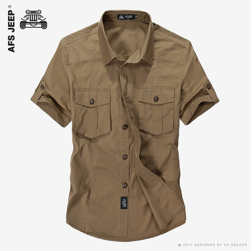 Afs jeep brand cotton casual shirts absorb sweat absorb for How to not sweat through dress shirts