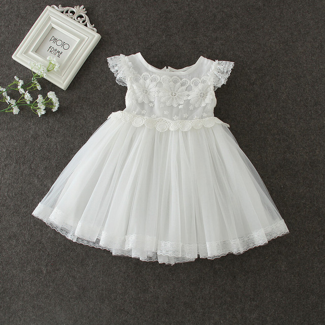 Baby Girl Clothing 2017 Summer Girls Fashion White Flower Lace Fly
