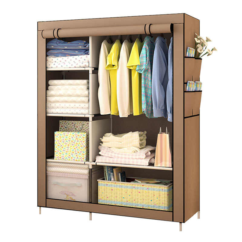 On Clearance Sale DIY Wardrobe Non-woven Cloth Wardrobe Closet Folding Portable Clothing Storage Cabinet Bedroom Furniture