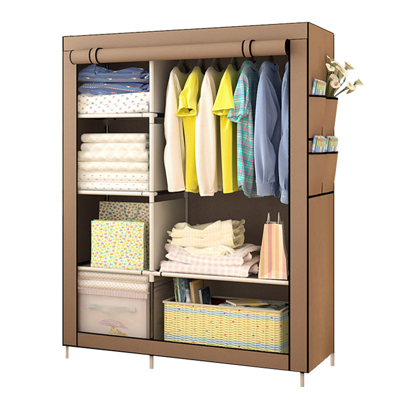 On Clearance Sale DIY Wardrobe Non woven Cloth Wardrobe Closet Folding Portable Clothing Storage Cabinet Bedroom Furniture-in Wardrobes from Furniture
