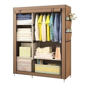 Image 1 - クリアランスセール diy ワードローブ不織布ワードローブクローゼット折りたたみポータブル衣類収納キャビネット寝室の家具