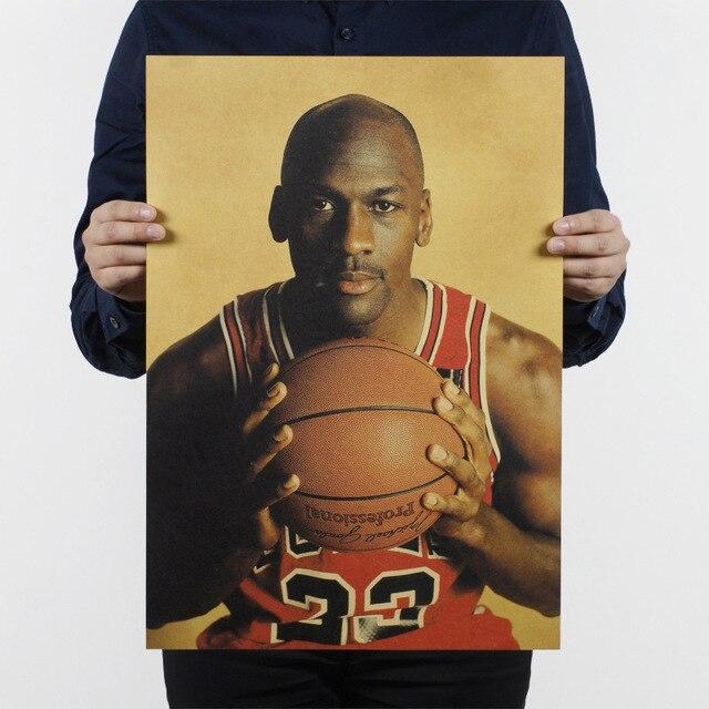 5b80c26d943 Basketball Vintage Poster Michael Jordan Retro Paper Bulls Home Decor Wall  Painting 51*35.5cm