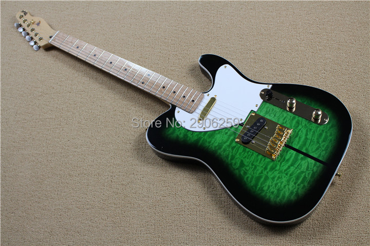 Custom shop telecast electric guitar green color dog tele guitar cloud flamed maple veneer maple material,gold hardware