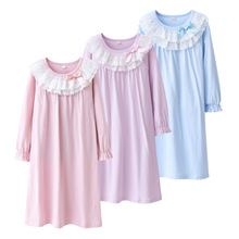 Quality Soft Kids Girls Pajama Dress Lace Princess Baby Girls Nightgown Teen Big Girls Night Dress Long Sleeve Girls Home Wear cheap COTTON Fits true to size take your normal size Ruffles Children Floral European and American Style Nightgowns Broadcloth