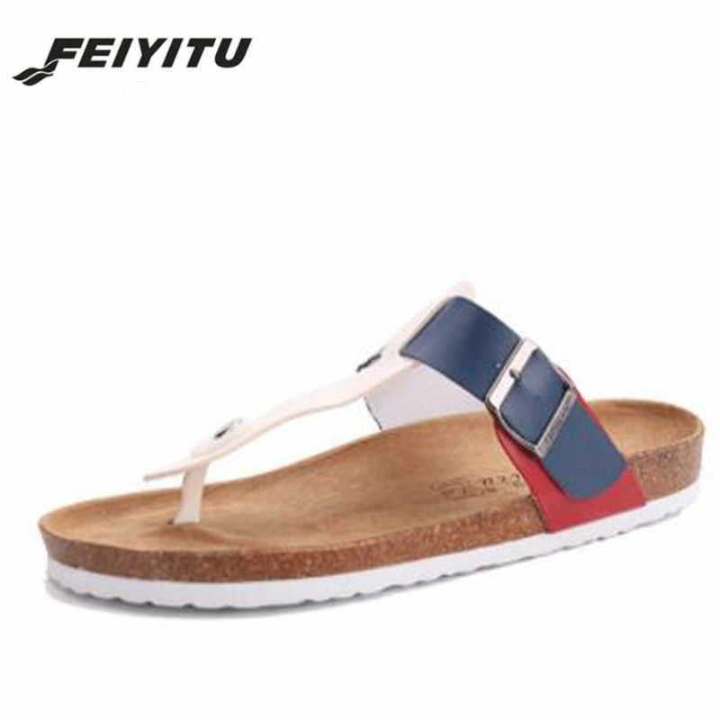 954cd931c44b0d ... Feiyitu Hot Sale New Men s Flip Flops 2018 Fashion Summer Man Beach  Cork Slippers Outdoors Casual ...