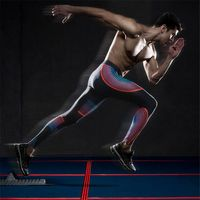 Mens Fitness Long Pants Jogger Tights Attractive Color Line Pattern Workout Trousers Soft Skinny Leggings Bodybuilding Pants