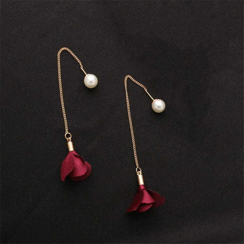 MJARTORIA Simulierte Perlen Ohrringe Für Frauen Hochzeit Blume Lange Quaste Baumeln Ohrring Bar Erklärung Schmuck