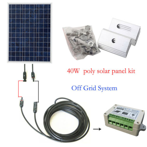 Eco-worthy 40Watt Solar Panel System OFF GRID COMPLETE KIT: Photovoltaic Poly Solar Panel for RV Boat Cabin 300w solar system complete kit 3pcs 100w photovoltaic pv solar panel system solar module for rv boat car home solar system