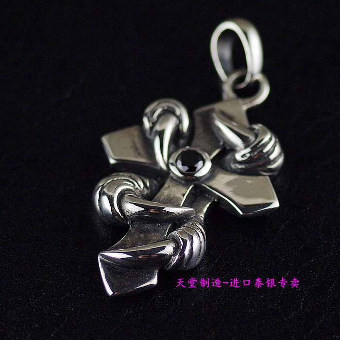Thailand imports, retro 925 Sterling Silver Ghost claw boys Cross Silver Pendant цены онлайн