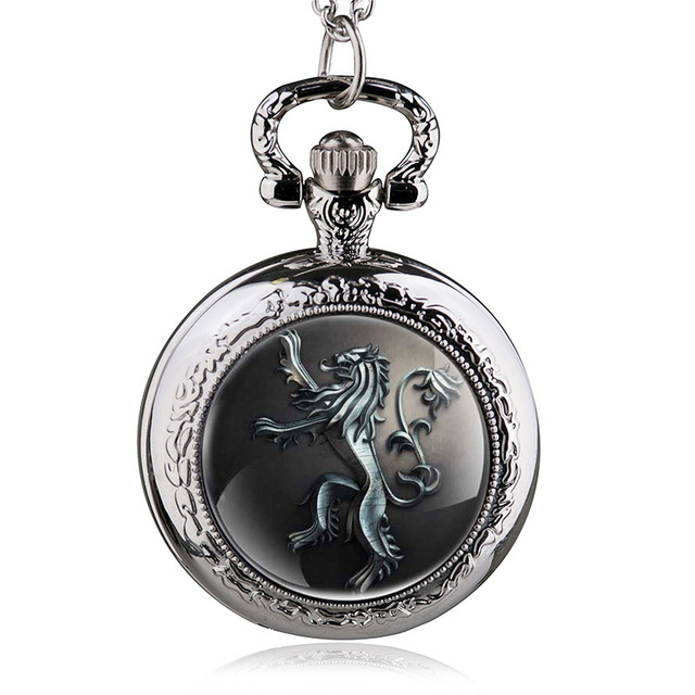 Antique Game of Thrones Quartz House Lanniste Lion Pocket Watch Jewelry