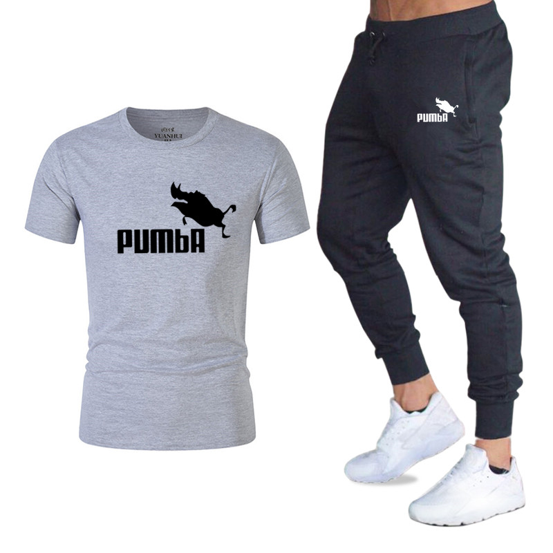Summer High quality Sets Pumba Graphic T-shirt+Pants men Brand clothing 2piece suit Brand tracksuit Fashion Casual Tshirts Sets