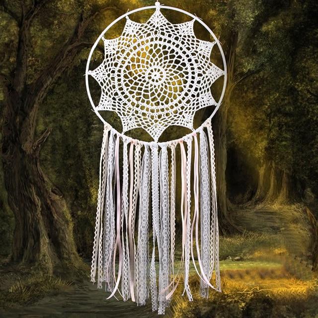 Large Dream Catcher Lace Flower Tassel Wall Hanging Dreamcatcher Indian Style Home Car Decor Dreamlike Craft