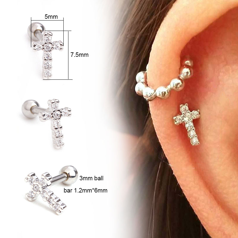 US $1 98 |Feelgood Small Cross Cz Cartilage Earring Helix Piercing Jewelry  Tragus Rook Conch Ear Piercing Stud-in Body Jewelry from Jewelry &