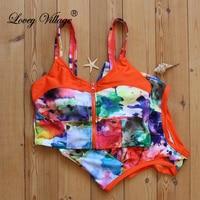 2017 Sexy Floral Biquini Thong Zipper High Neck Swim Bathing Suit Plus Size Swimwear Women Brazilian