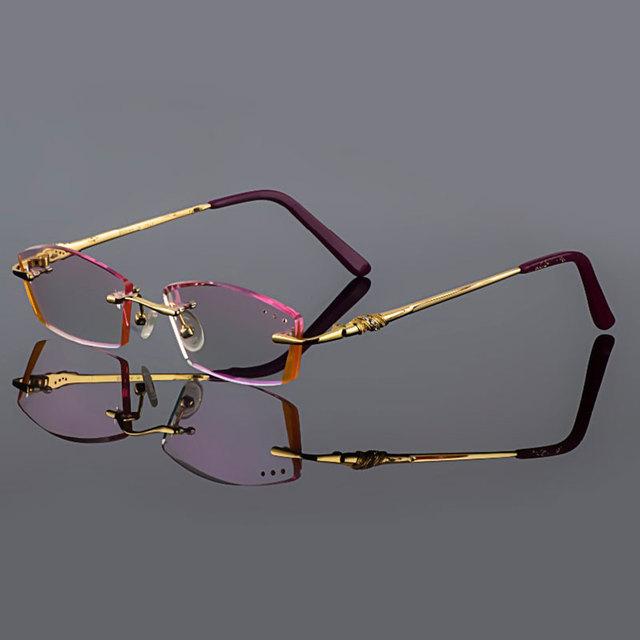 Phantom corte titanium óculos óculos sem aro de ouro modelos femininos diamante cristal aparamento terminou óculos de prescrição