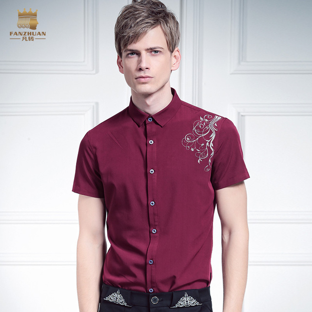 FanZhuan Free shipping New male summer Dark men's shirt color all-match Palace Flower Embroidery Shirt Short Sleeved size OnSale