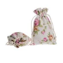 50 pcs/lot Natural Rose Jute Drawstring Favor Bag Burlap bag Linen For Wedding Party Free Shipping