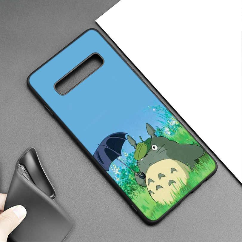 Studio Ghibli Totoro Đen Silicone Trường Hợp đối Với Samsung Galaxy M20 S10e S10 S9 M10 S8 Cộng Với 5G S7 S6 cạnh Bìa Coque