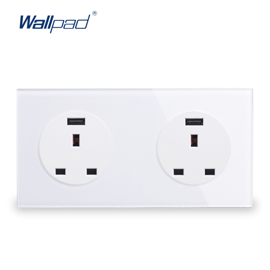 Double UK 13A Socket With USB Charger 5V 2000MA Wallpad Luxury Tempered Crystal Glass Panel Electric Wall Power Socket uk socket wallpad crystal glass panel 110v 250v switched 13a uk british standard electrical wall socket power outlet uk with led