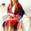 2016 nova colorido Coreano Dongkuan grosso cashmere lenços xadrez grande xale cachecóis xale atacado cor feitiço grandes