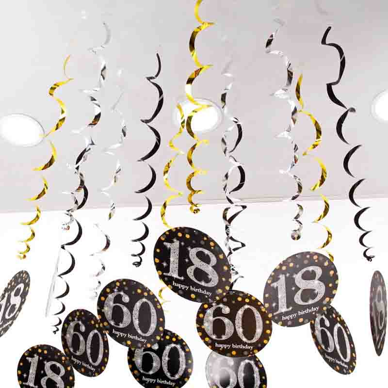 6pcs Happy Birthday Spiral Hanging Ornaments 18 21 30 40 60 70 Years Old PVC Party Decorations Decor