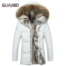 Mens and Womens Leisure Down Jacket 2018 Winter Thick Hood Detached Warm Waterproof Big Raccoon Fur Collar For -30 degrees cheap Fur Chains Button Zippers Pockets QUANBO Liner Detachable Hat Detachable Slim Microfiber Cotton 150g-200g Solid Casual 1650g