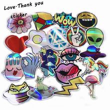 3 Style 20pcs lot Cool Styling Colorful Reflective Car Laptop Bicycle Sticker For Trunk Skateboard Guitar