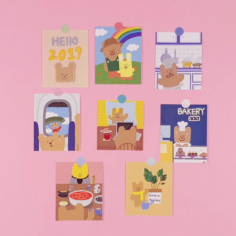 8Pcs/Packs Cute Postcard Style Sticker Kawaii Bear Hand Account Decoration Handmade Sticker Cartoon Album Wall Sticker