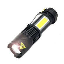 4 Mode Mini Portable Working lamp 3800LM Q5+COB LED Flashlight ZOOM torchflashlight life Lighting lantern Use AA 14500 Battery(China)