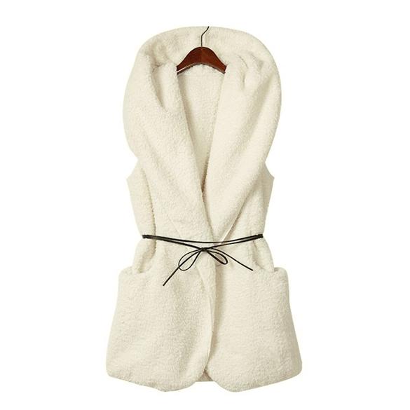 Ladies Hoodie Fur Vest Jacket – 5colors