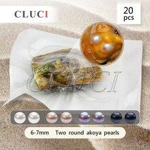 Funning подарок 6-7 мм круглый Akoya двойной перл в ойстер 20 шт.