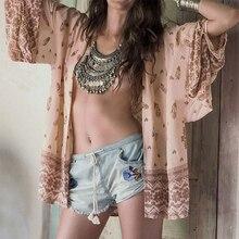 Shirt Kimono Boho Cardigan Vintage Geometric Print Blouse Loose Shawl Cape Knits Bohemian
