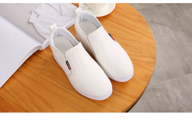 Wedge Leather Casual Shoes Woman Platform Shoes 2017 Spring New Simple Height Increasing Women Shoes Round Toe Ladies Shoes ZD48 (15)
