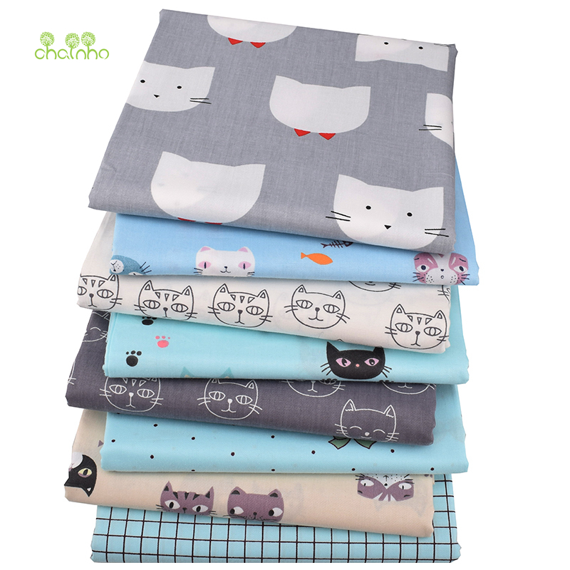 Chainho,8pcs/lot,Cat's World Series,Printed Twill Cotton Fabric,Patchwork Cloth,DIY Sewing&Quilting Material For Baby & Children