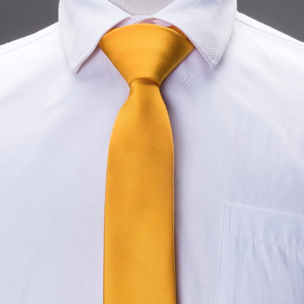 2017 Mode Schlanke Krawatte Gelb Solide Plain Dünne Schmale Gravata Seide Jacquard Gewebte Krawatten Für Männer 6 Cm Breite Beiläufiger E-006 üBereinstimmung In Farbe