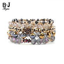 BOJIU 5 Pcs/Set Trendy Multilayer Crystal Charm Bracelets For Women Hot Elastic Gold Yellow Gray AB Bracelet BCSET215