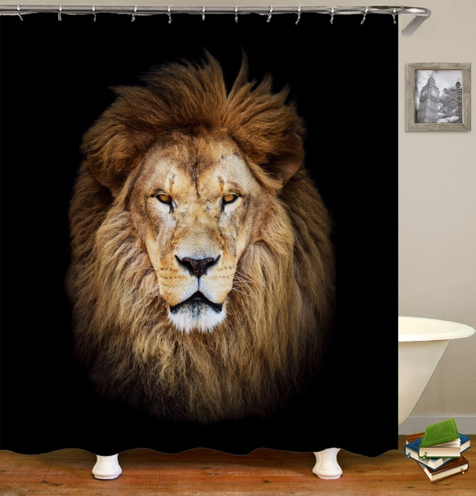 Image 2 - VOZRO 2 M Quality Proof 3d bathroom duschvorhang Manufacturing Lion pattern shower curtain douchegordijn pascoa cortina banheiro-in Shower Curtains from Home & Garden