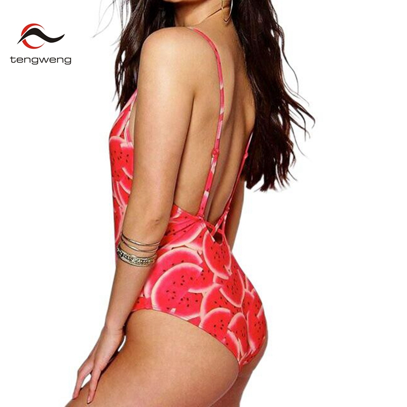 2017 summer Women Cute Newest sexy One Piece Swimsuit Print Fruit BathingSuit Backless Swimwear High Cut Beach Bodysuit Monokini