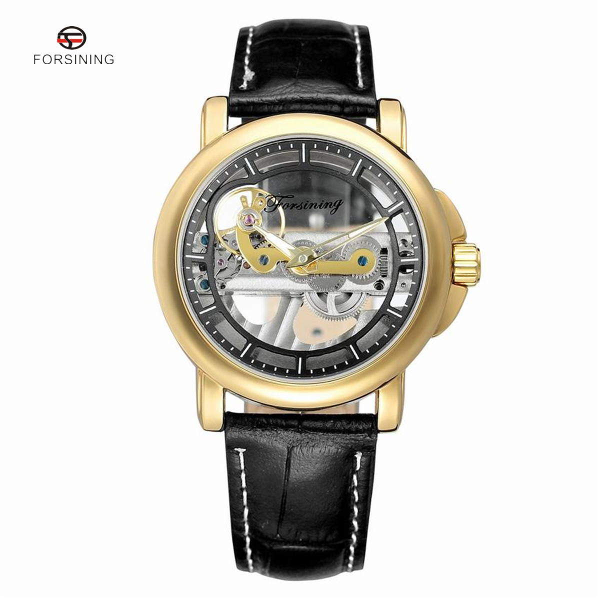 FORSINING Top Luxury Self Wind Automatic Mechanical Watches Men Gold Case Genuine Leather Skeleton Watches relogio masculino luxury gold automatic self wind men business casual watches stainless steel strap mechanical wrist luminous relogio masculino