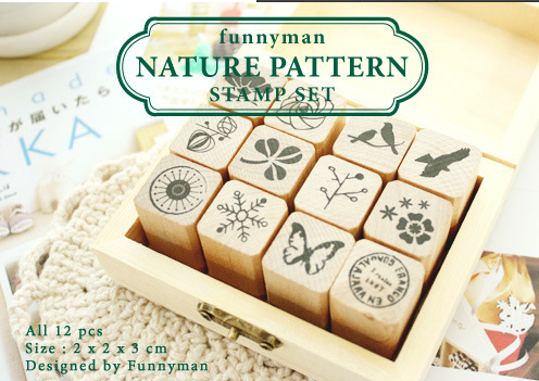 Freeshipping! New Creative Wooden Diary NATURE wood Stamp Set / Decorative DIY funny Work / Wooden Box / 12pcs per set nature explorer box set