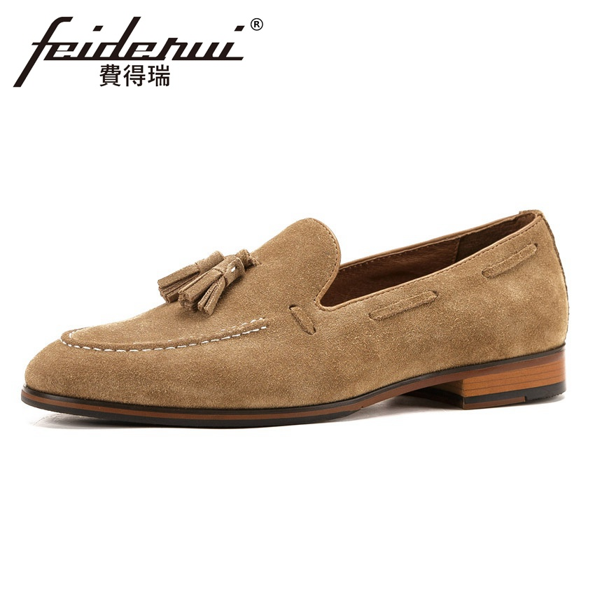 2018 New Arrival Comfortable Men's Loafers Round Toe Slip on Handmade Man Footwear Cow   Suede     Leather   Male Casual Shoes KUD200