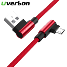 Micro USB 2.4A 90 Degree Fast Charging Cable Nylon Braid Mobile