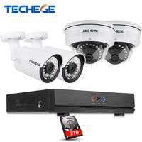 Techege 4CH POE NVR 1080P HDMI 4PCS 1 0MP IP Camera IR Weatherproof Outdoor 720P CCTV