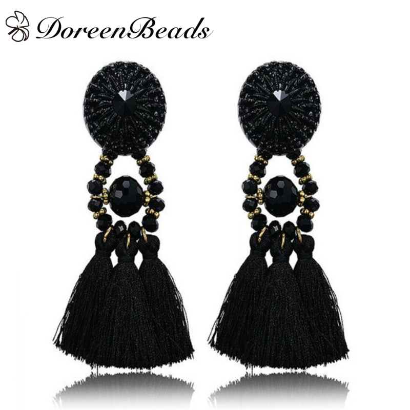 DoreenBeads 2016 Summer Bohemia Tassel Earrings Black Crystal Vintage Ethnic Fashion Woman Jewelry 1 Pair