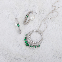 Very Girl Luxury Silver Color Fashion Earrings and Pendants Jewelry Sets For Women Wedding with Green AAA Cubic Zircon