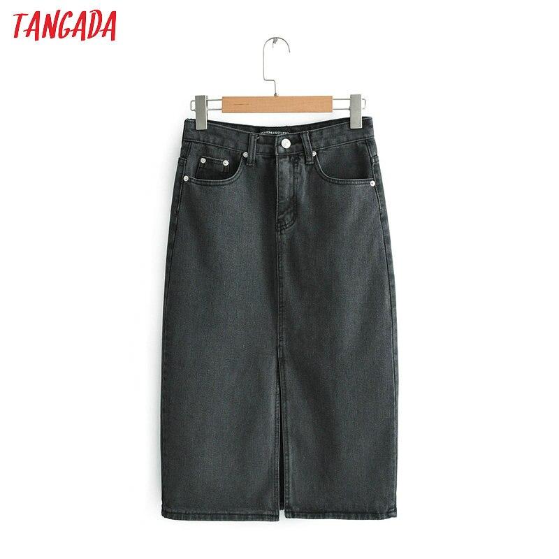 Tangada Women Black Denim Skirts Vintage Ladies Midi Skirt Fashion Casual Brand Feminina Midi Calf Length Saias Faldas FN65