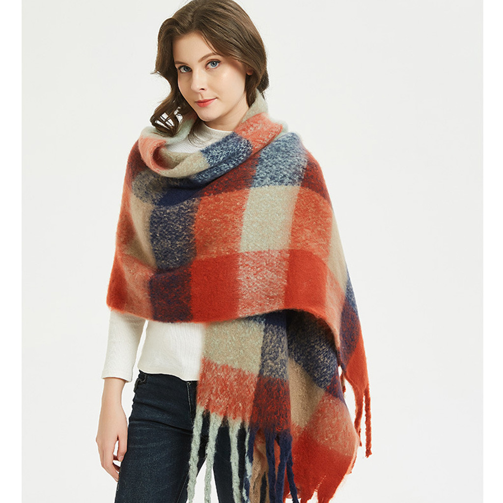 Large shawl women autumn Winter 2019 Fashion Long Warm   Scarf     Wrap   Plaid Patchwork Women shawl bufandas para mujer
