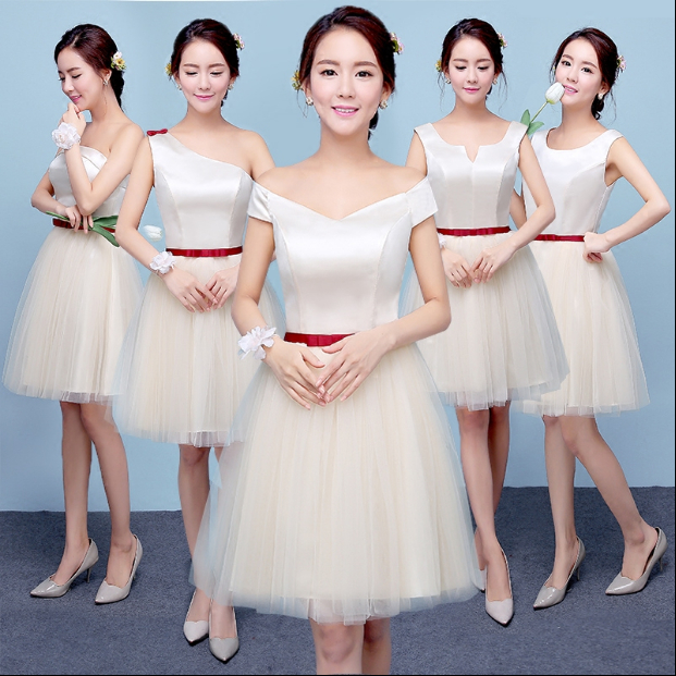 junior champagne formal sweetheart dresses bridesmaid cheap ...