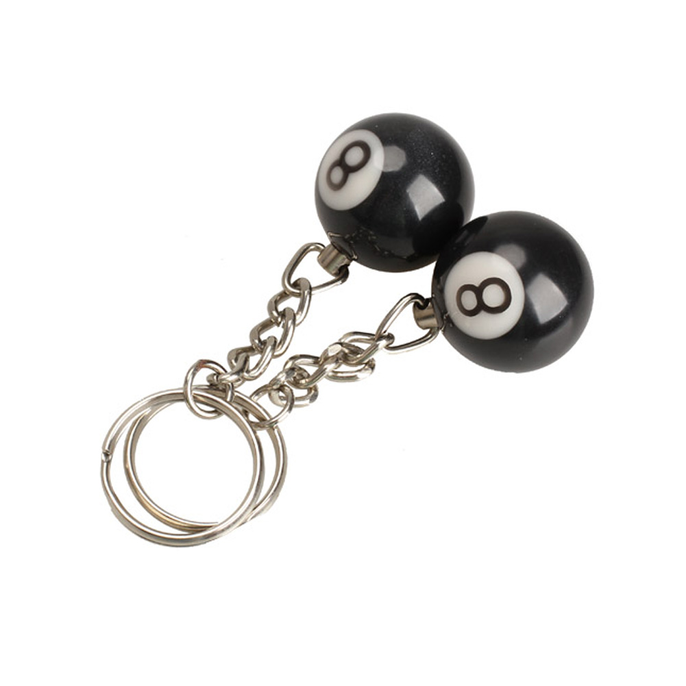 High Quality 2pcs Billiard Pool Keychain Snooker Table Ball Key Ring Gift NO 8 buckle Ba ...
