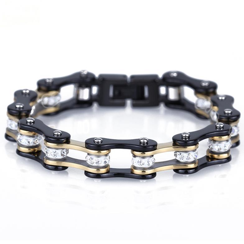 22 cm * 10mm 48g Mode Hommes En Acier Inoxydable Noir et Or Vélo Chaîne Bracelets Bracelets Pour Hommes garçon, Incrusté Clin Zircon